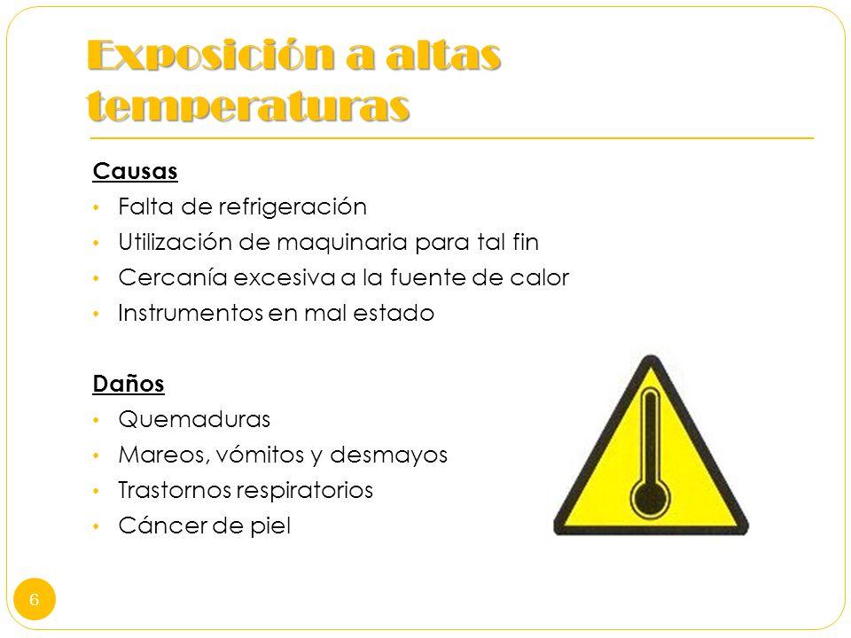 Exposición a altas temperaturas Causas Falta de refrigeración Utilización de maquinaria para tal fin Cercanía excesiva a la fuente de calor Instrument