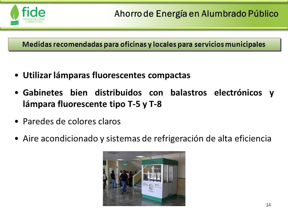 14 Medidas recomendadas para oficinas y locales para servicios municipales Utilizar lámparas fluorescentes compactas Gabinetes bien distribuidos con b