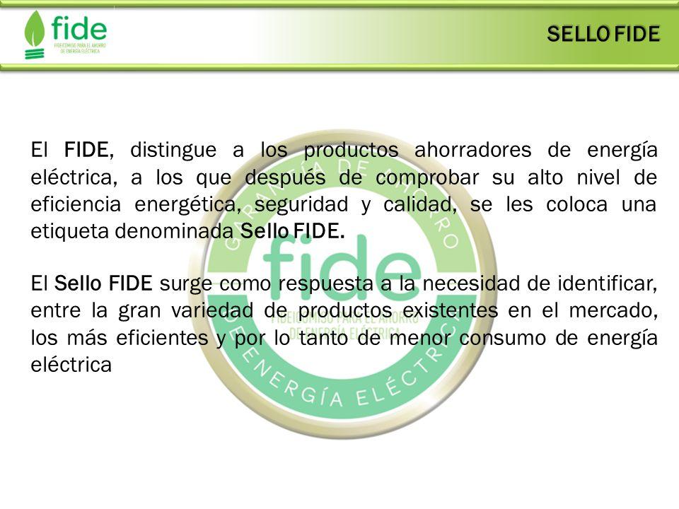 El FIDE, distingue a los productos ahorradores de energía eléctrica, a los que después de comprobar su alto nivel de eficiencia energética, seguridad