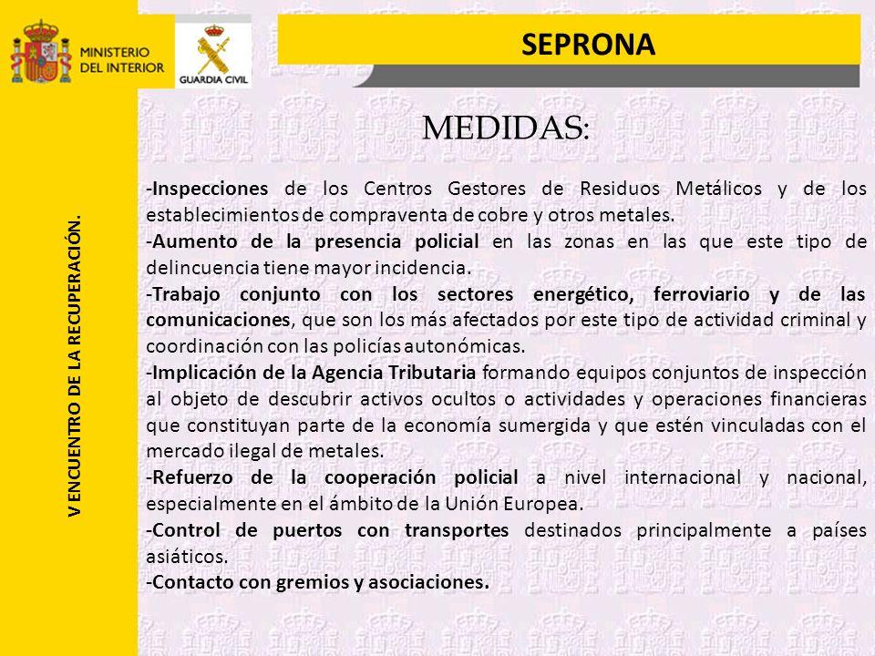 SEPRONA V ENCUENTRO DE LA RECUPERACIÓN.ACTUACIONES EN GESTORES DE RESIDUOS METÁLICOS EN CATALUÑA.