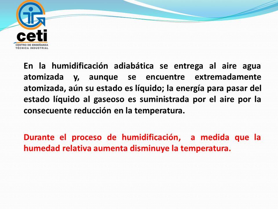 En la humidificación adiabática se entrega al aire agua atomizada y, aunque se encuentre extremadamente atomizada, aún su estado es líquido; la energí