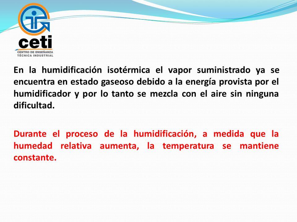 En la humidificación isotérmica el vapor suministrado ya se encuentra en estado gaseoso debido a la energía provista por el humidificador y por lo tan