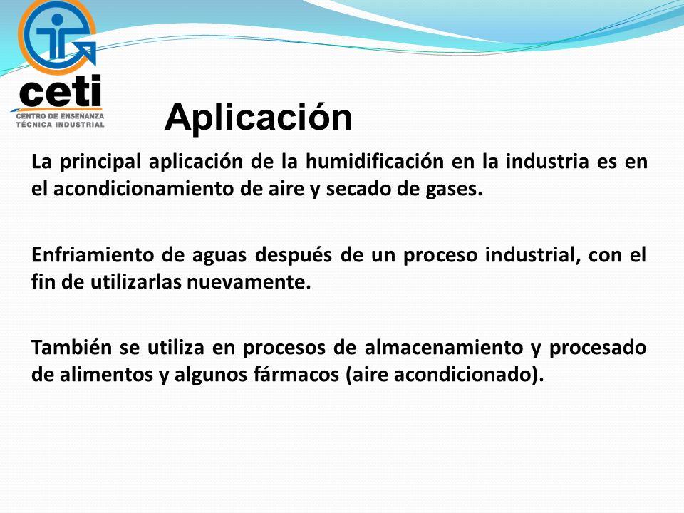 Aplicación La principal aplicación de la humidificación en la industria es en el acondicionamiento de aire y secado de gases. Enfriamiento de aguas de