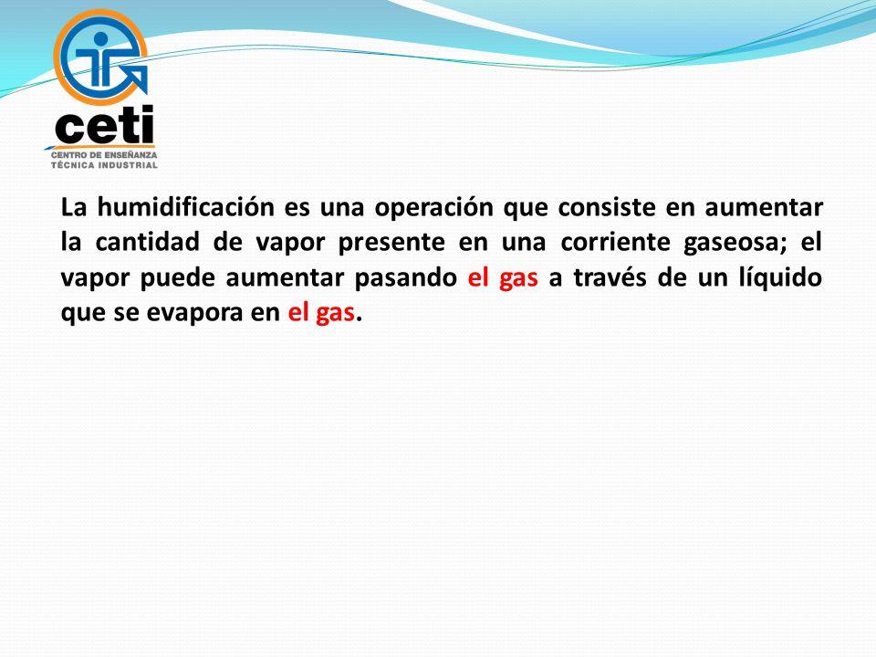 La humidificación es una operación que consiste en aumentar la cantidad de vapor presente en una corriente gaseosa; el vapor puede aumentar pasando el