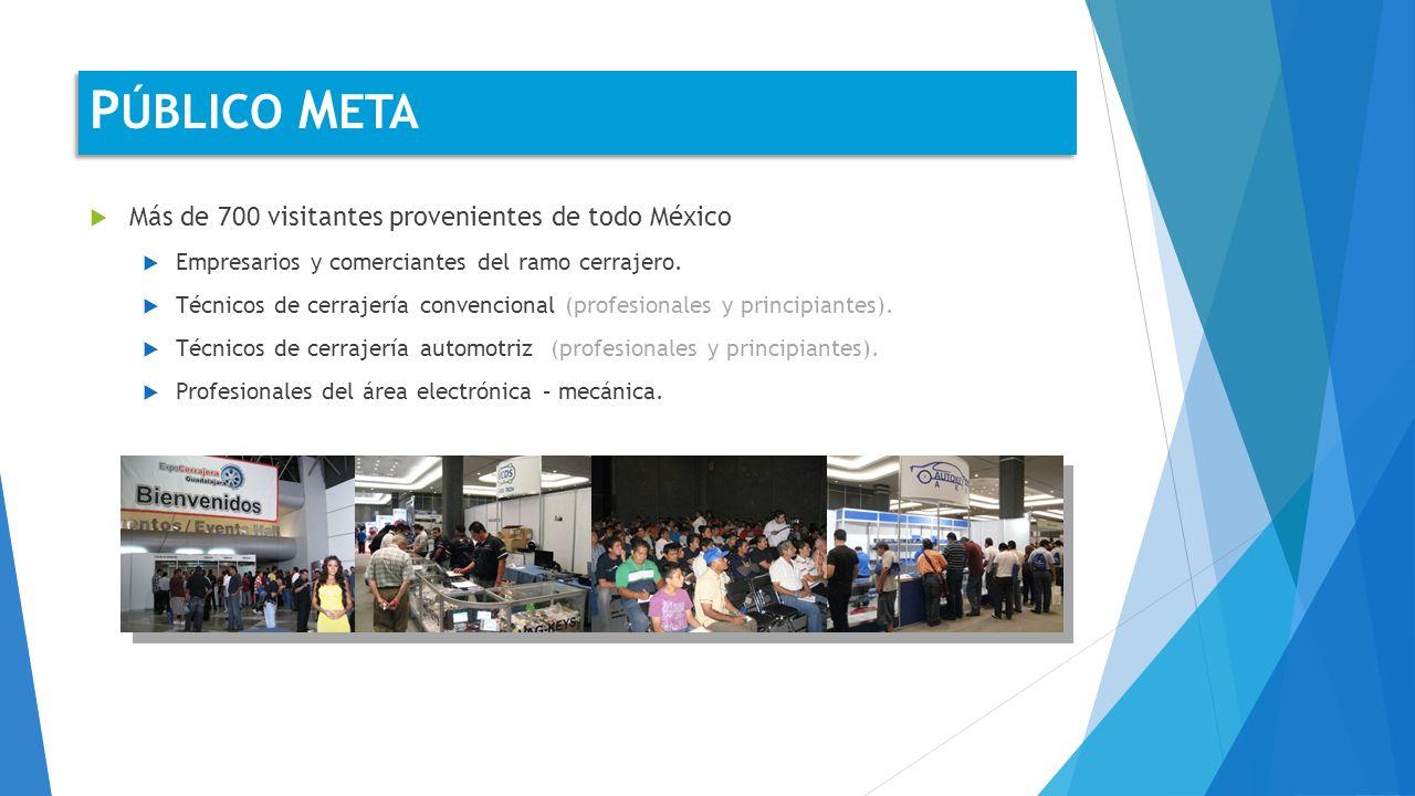 Más de 700 visitantes provenientes de todo México Empresarios y comerciantes del ramo cerrajero.