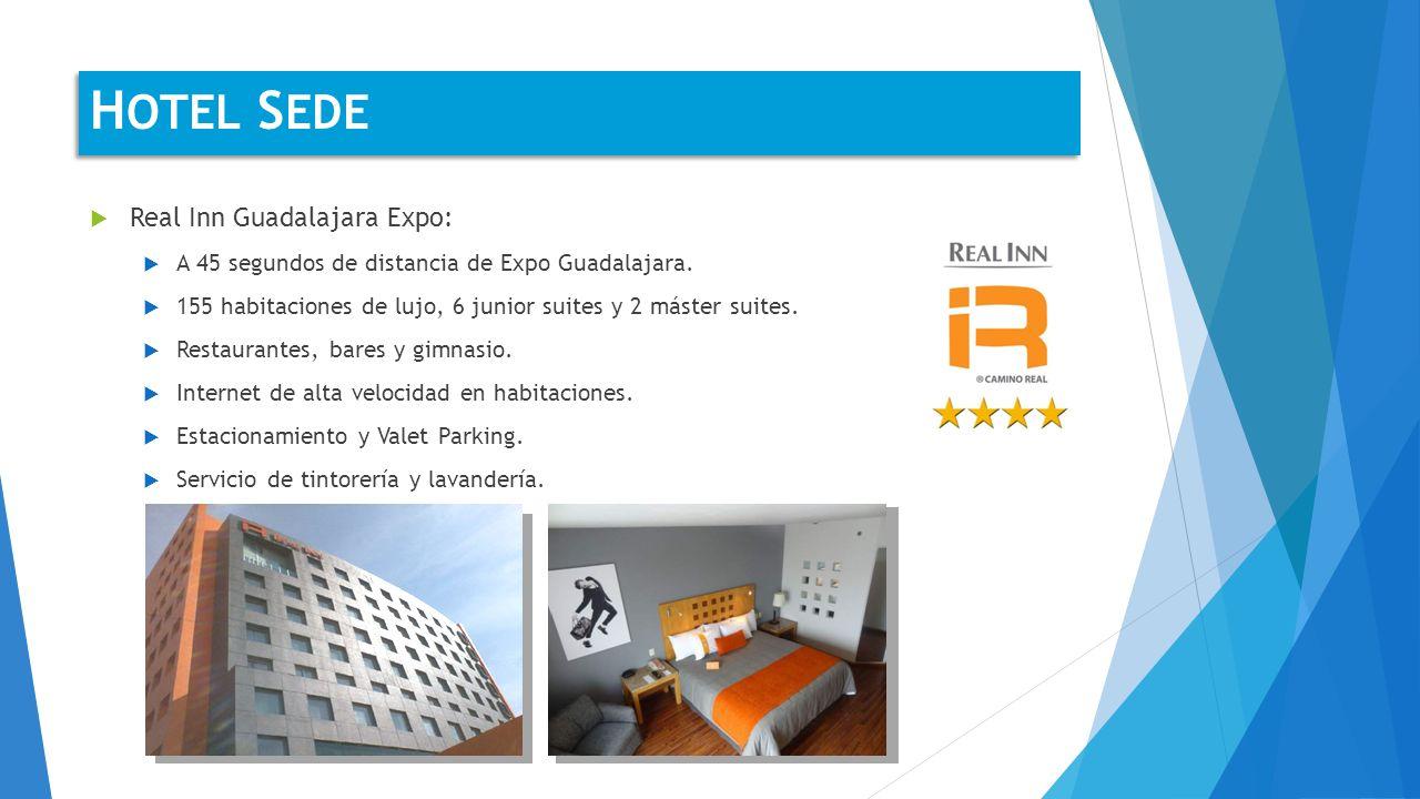 Real Inn Guadalajara Expo: A 45 segundos de distancia de Expo Guadalajara. 155 habitaciones de lujo, 6 junior suites y 2 máster suites. Restaurantes,