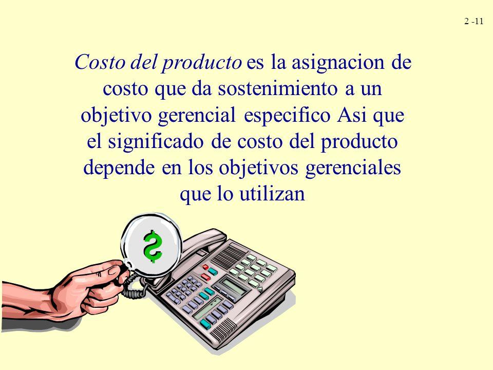 2 -11 Costo del producto es la asignacion de costo que da sostenimiento a un objetivo gerencial especifico Asi que el significado de costo del product