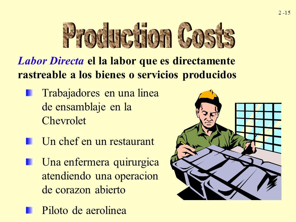 2 -15 Labor Directa el la labor que es directamente rastreable a los bienes o servicios producidos Trabajadores en una linea de ensamblaje en la Chevr