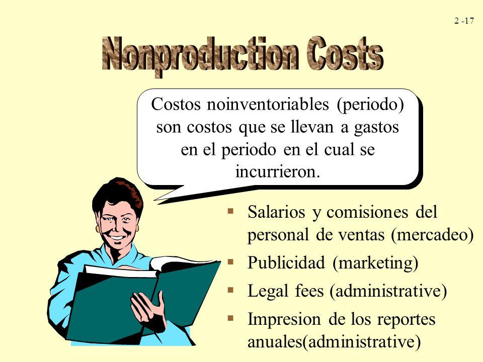 2 -17 Costos noinventoriables (periodo) son costos que se llevan a gastos en el periodo en el cual se incurrieron. Salarios y comisiones del personal