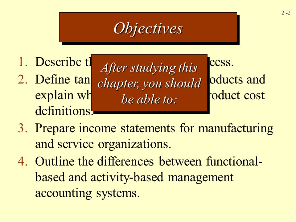 2 -23 Service Organization Income Statement For the Year Ended December 31, 2004 Sales$300,000 Less expenses: Cost of services sold: Beginning work in process$ 5,000 Service costs added: Direct materials$ 40,000 Direct labor80,000 Overhead 100,000 220,000 Total$225,000 Less: Ending work in process 10,000 215,000 Gross margin$ 85,000 Less operating expenses: Selling expenses$ 8,000 Administrative expenses 22,000 30,000 Income before income taxes$ 55,000 2-23