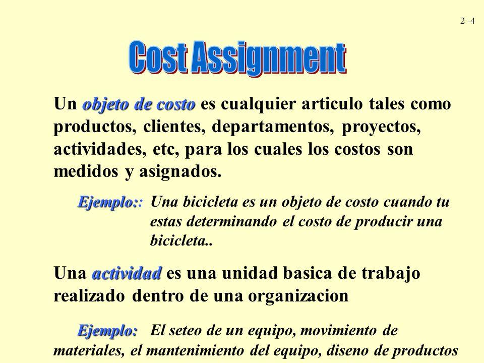 2 -4 objeto de costo Un objeto de costo es cualquier articulo tales como productos, clientes, departamentos, proyectos, actividades, etc, para los cua