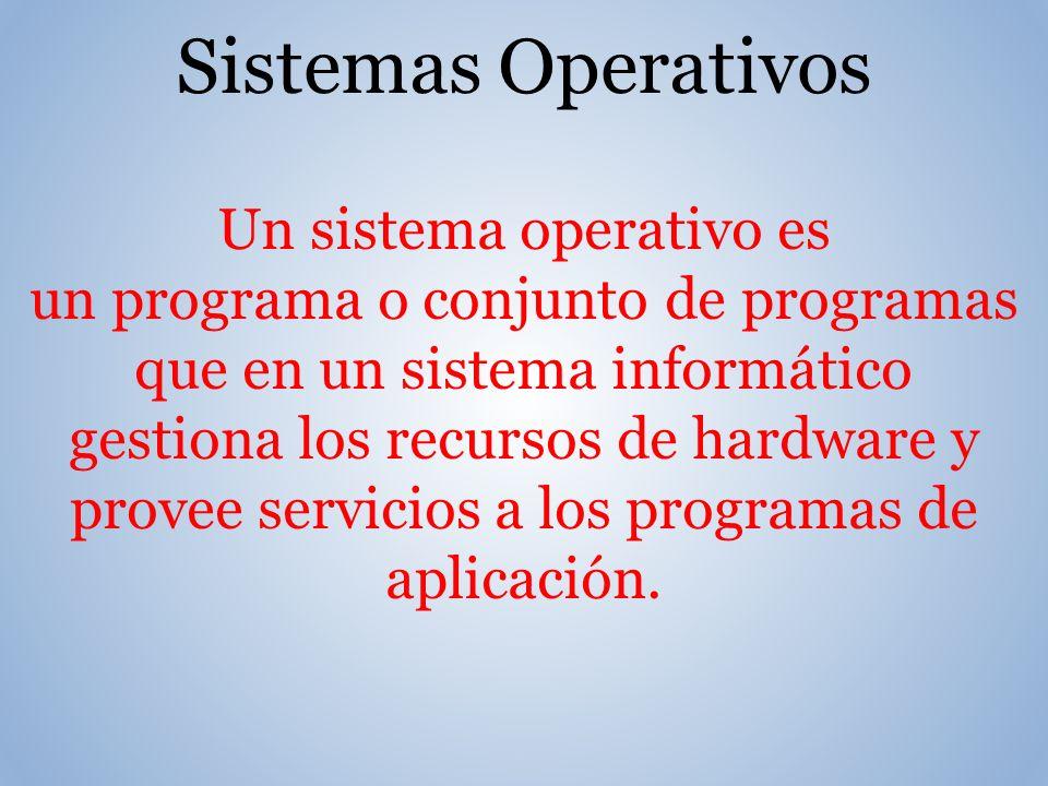 Un sistema operativo es un programa o conjunto de programas que en un sistema informático gestiona los recursos de hardware y provee servicios a los programas de aplicación.