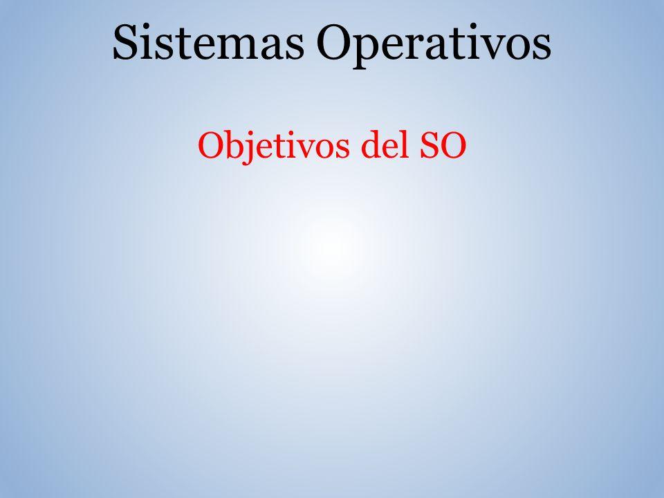 Sistemas Operativos Objetivos del SO