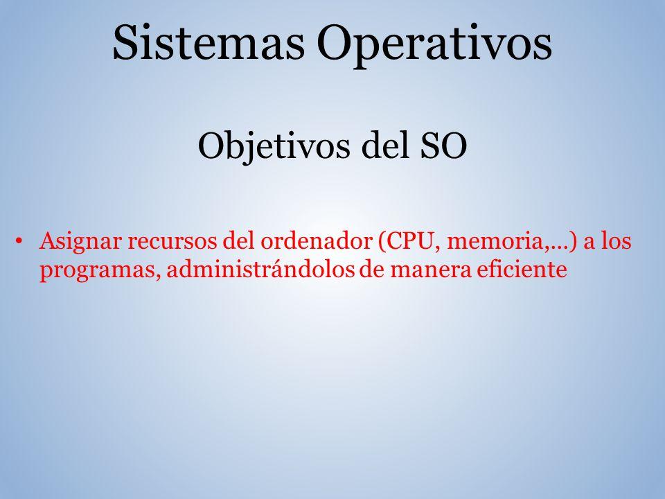 Sistemas Operativos Objetivos del SO Asignar recursos del ordenador (CPU, memoria,...) a los programas, administrándolos de manera eficiente