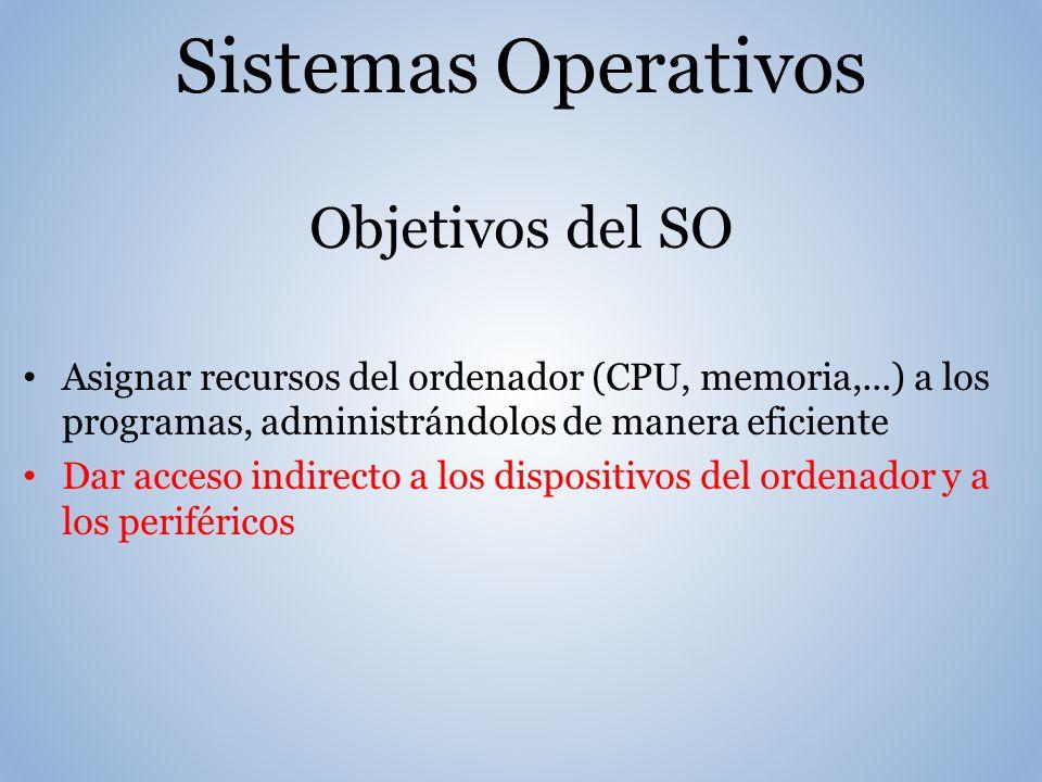 Sistemas Operativos Objetivos del SO Asignar recursos del ordenador (CPU, memoria,...) a los programas, administrándolos de manera eficiente Dar acceso indirecto a los dispositivos del ordenador y a los periféricos