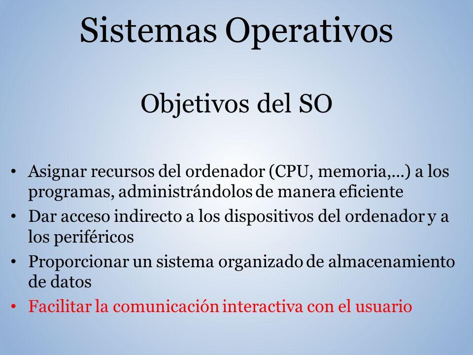Sistemas Operativos Objetivos del SO Asignar recursos del ordenador (CPU, memoria,...) a los programas, administrándolos de manera eficiente Dar acceso indirecto a los dispositivos del ordenador y a los periféricos Proporcionar un sistema organizado de almacenamiento de datos Facilitar la comunicación interactiva con el usuario