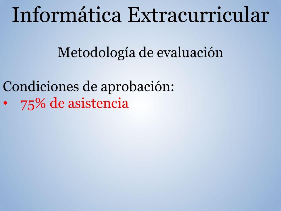 Informática Extracurricular Metodología de evaluación Condiciones de aprobación: 75% de asistencia