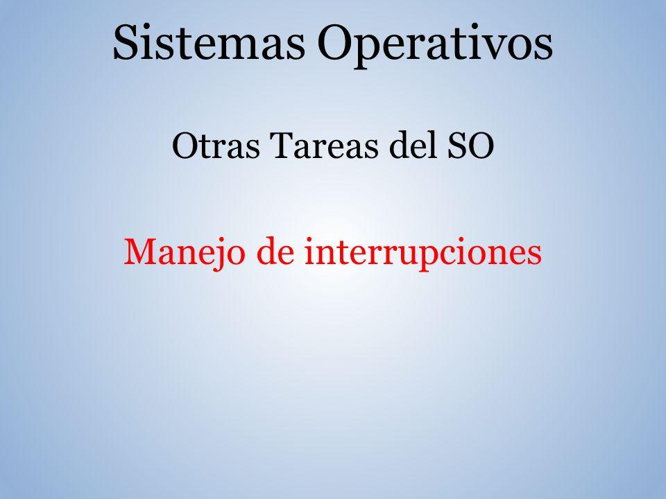 Sistemas Operativos Otras Tareas del SO Manejo de interrupciones