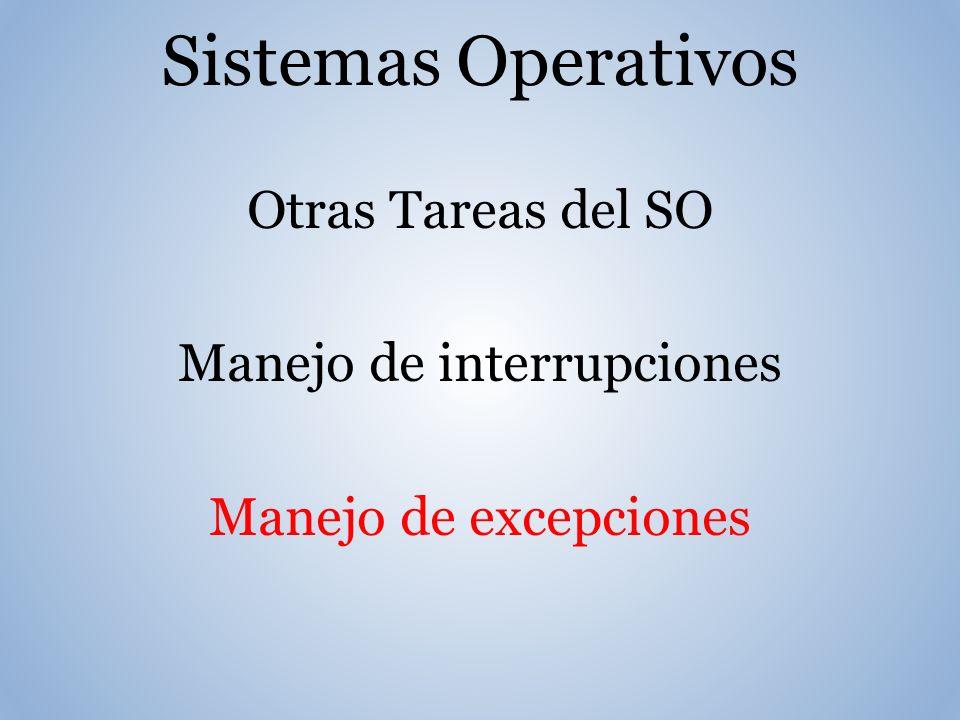 Sistemas Operativos Otras Tareas del SO Manejo de interrupciones Manejo de excepciones