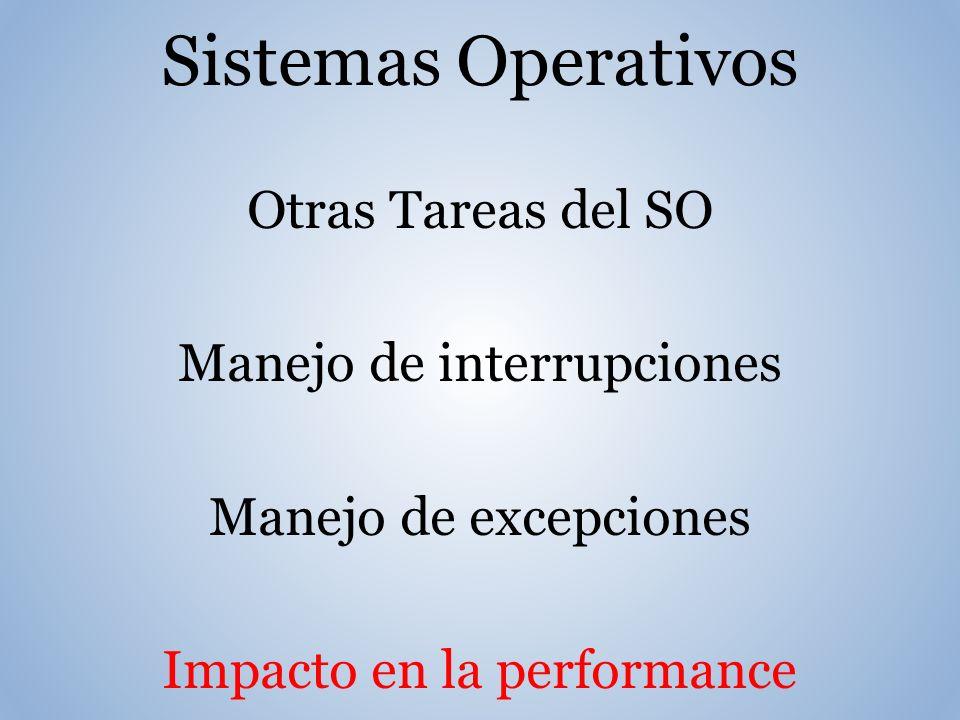 Sistemas Operativos Otras Tareas del SO Manejo de interrupciones Manejo de excepciones Impacto en la performance