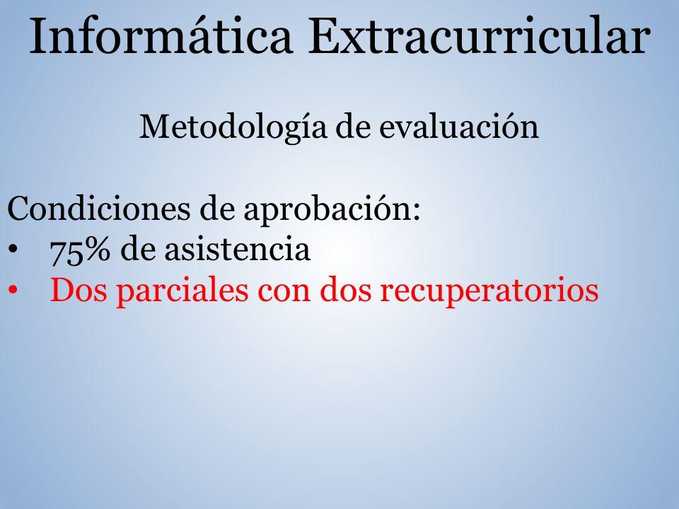 Informática Extracurricular Metodología de evaluación Condiciones de aprobación: 75% de asistencia Dos parciales con dos recuperatorios