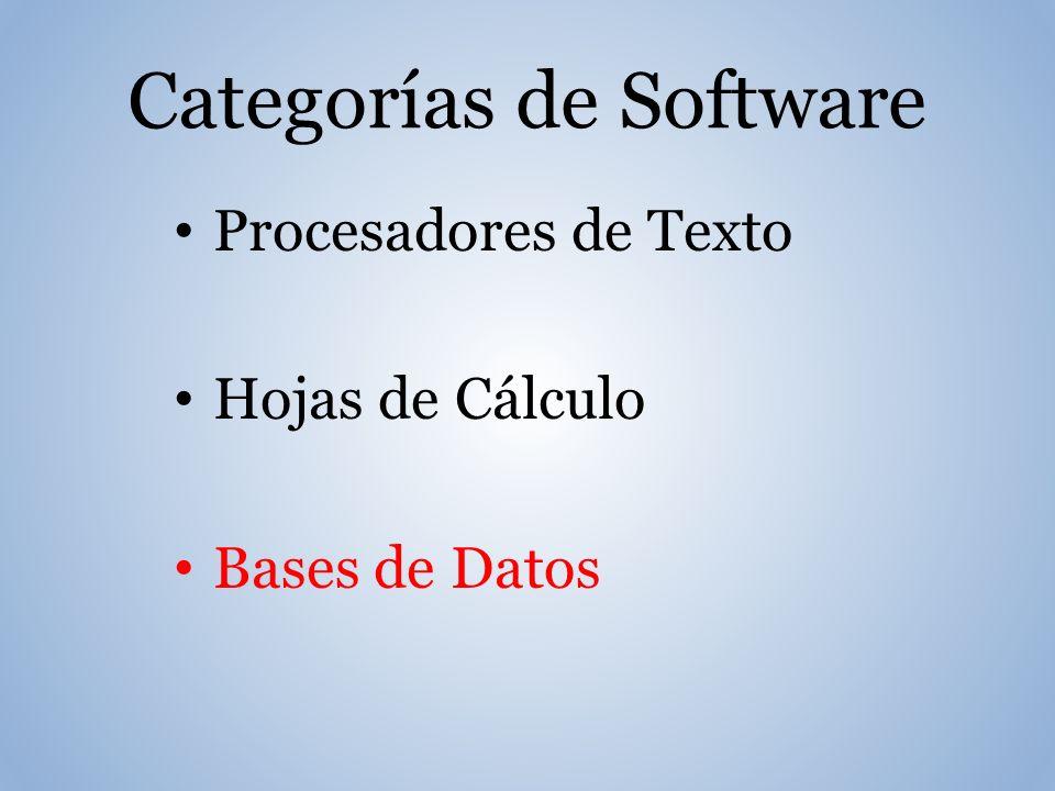 Categorías de Software Procesadores de Texto Hojas de Cálculo Bases de Datos