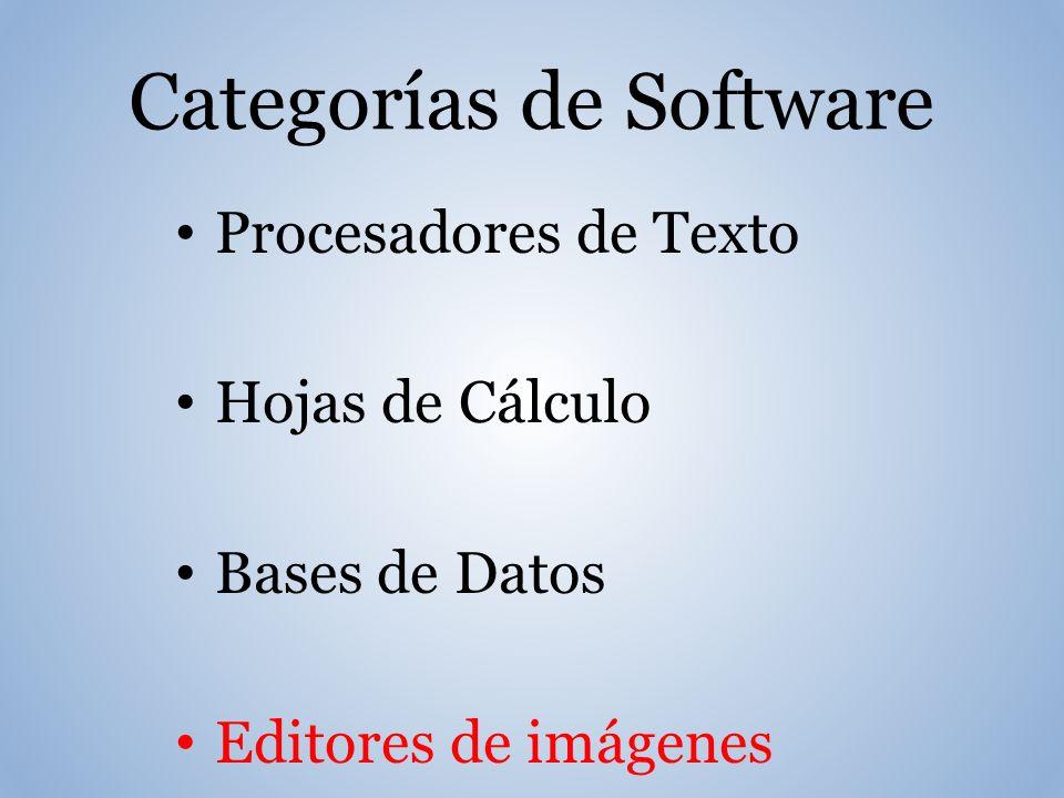Categorías de Software Procesadores de Texto Hojas de Cálculo Bases de Datos Editores de imágenes