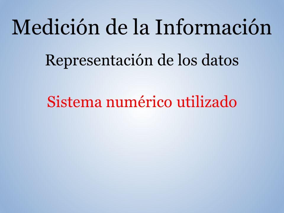 Medición de la Información Representación de los datos Sistema numérico utilizado
