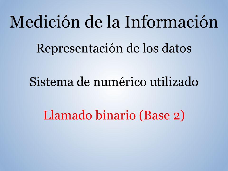 Medición de la Información Representación de los datos Sistema de numérico utilizado Llamado binario (Base 2)