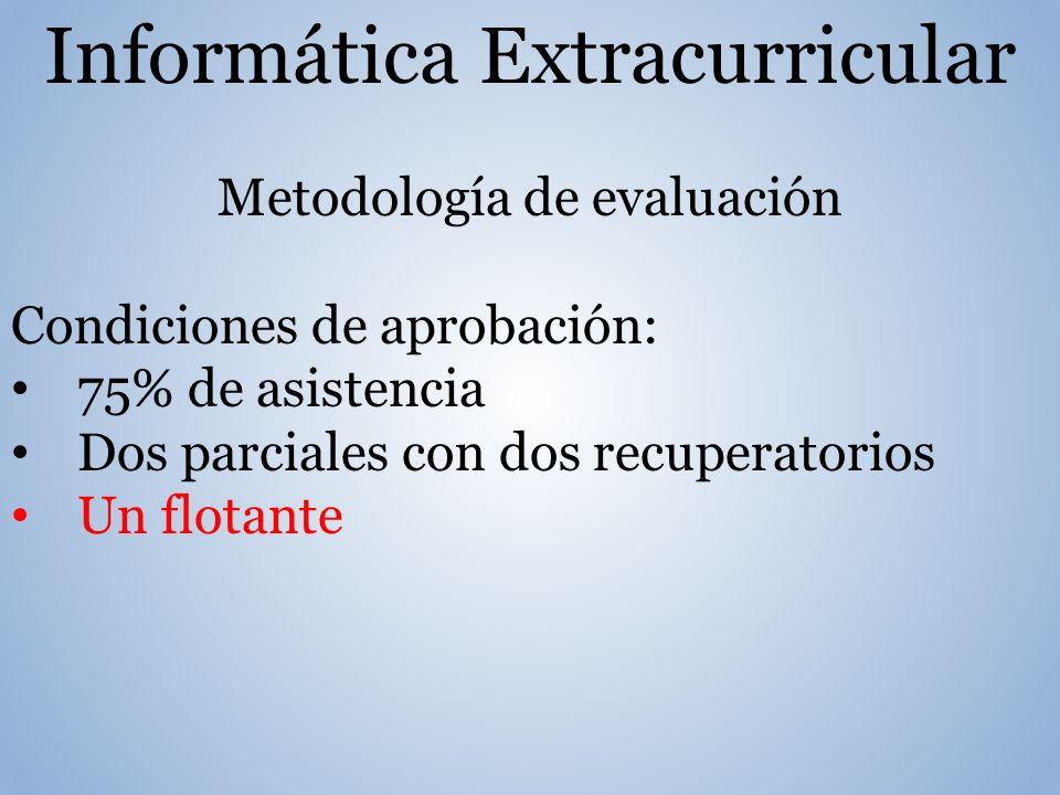 Informática Extracurricular Metodología de evaluación Condiciones de aprobación: 75% de asistencia Dos parciales con dos recuperatorios Un flotante