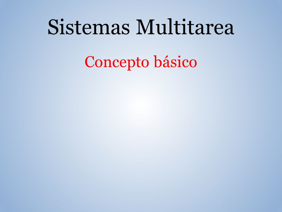 Concepto básico Sistemas Multitarea