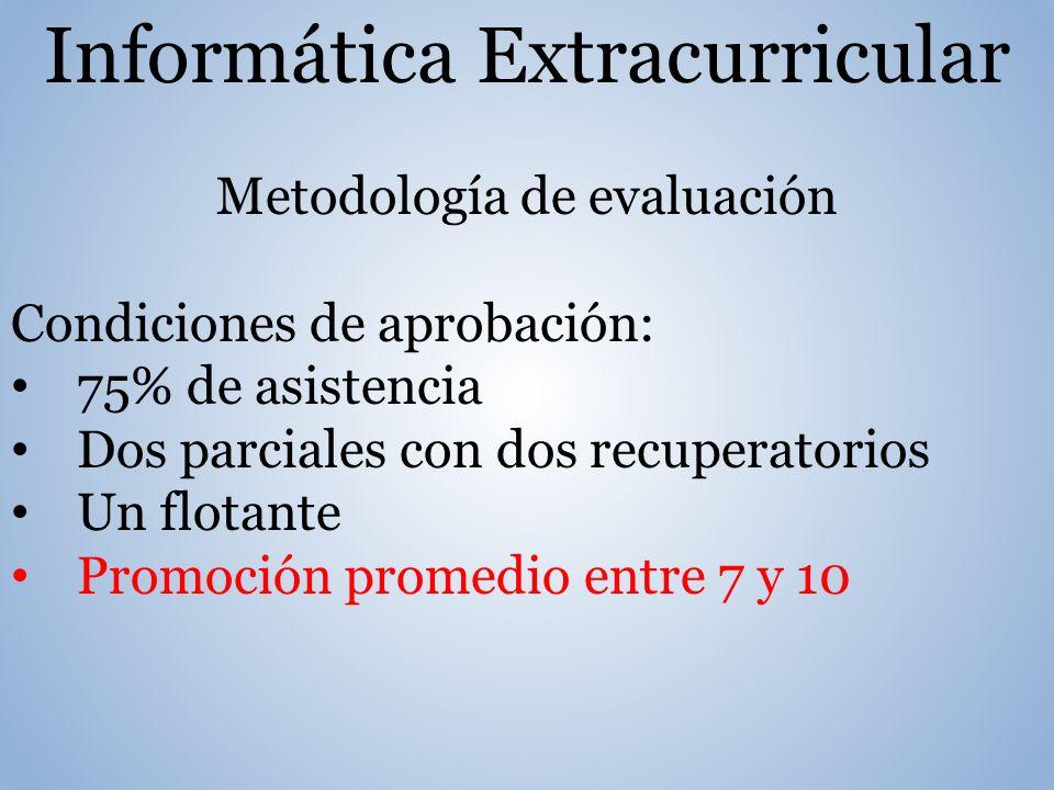 Informática Extracurricular Metodología de evaluación Condiciones de aprobación: 75% de asistencia Dos parciales con dos recuperatorios Un flotante Promoción promedio entre 7 y 10