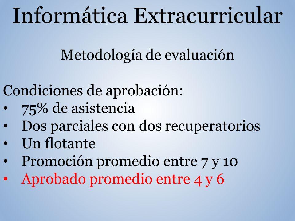 Informática Extracurricular Metodología de evaluación Condiciones de aprobación: 75% de asistencia Dos parciales con dos recuperatorios Un flotante Promoción promedio entre 7 y 10 Aprobado promedio entre 4 y 6