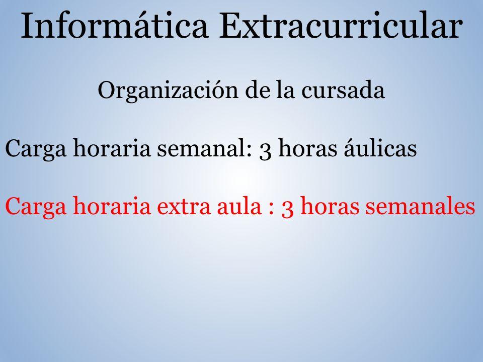 Informática Extracurricular Organización de la cursada Carga horaria semanal: 3 horas áulicas Carga horaria extra aula : 3 horas semanales
