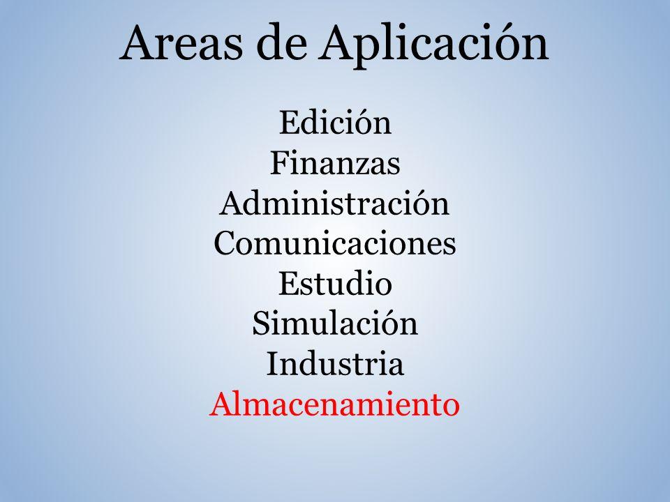 Areas de Aplicación Edición Finanzas Administración Comunicaciones Estudio Simulación Industria Almacenamiento