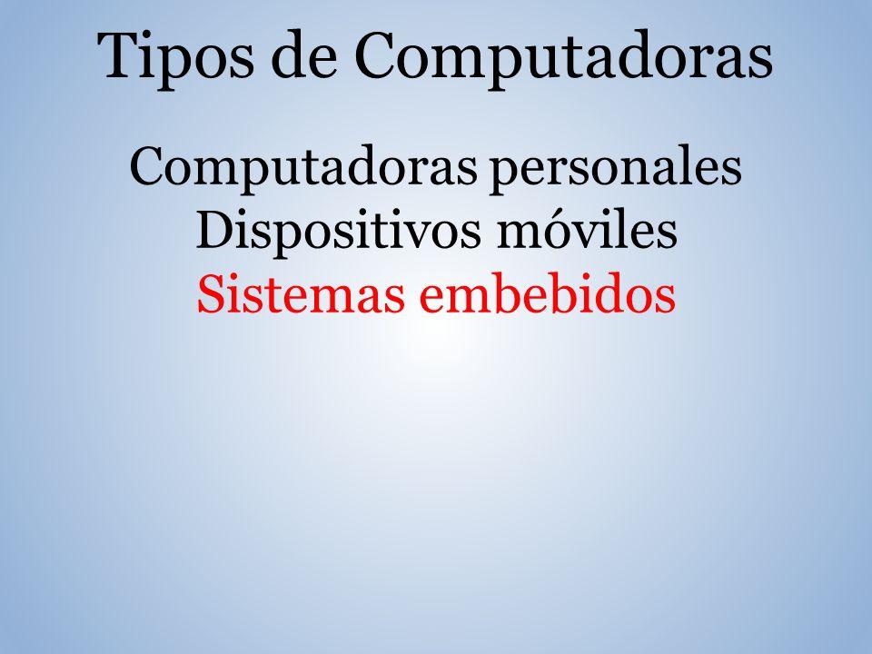Tipos de Computadoras Computadoras personales Dispositivos móviles Sistemas embebidos