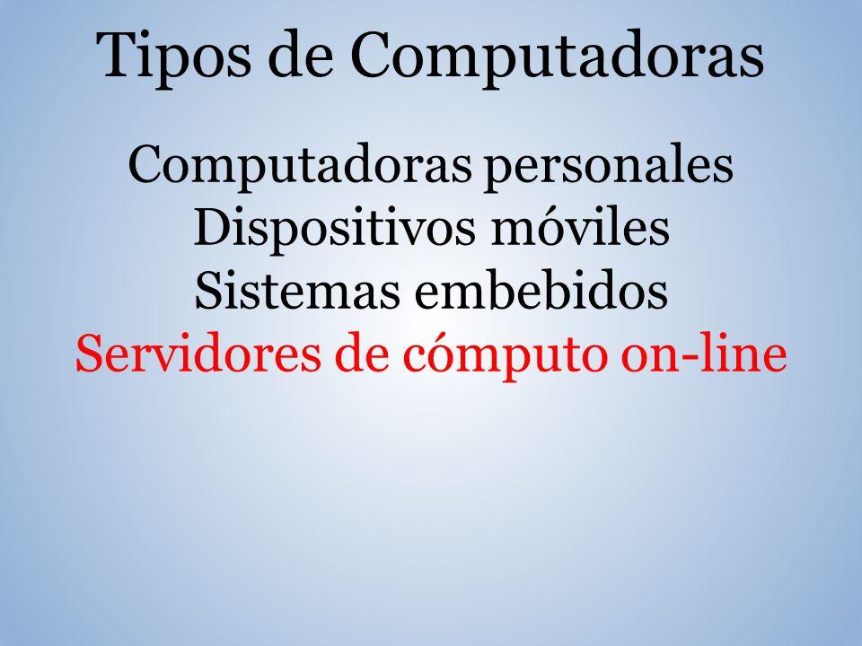 Tipos de Computadoras Computadoras personales Dispositivos móviles Sistemas embebidos Servidores de cómputo on-line