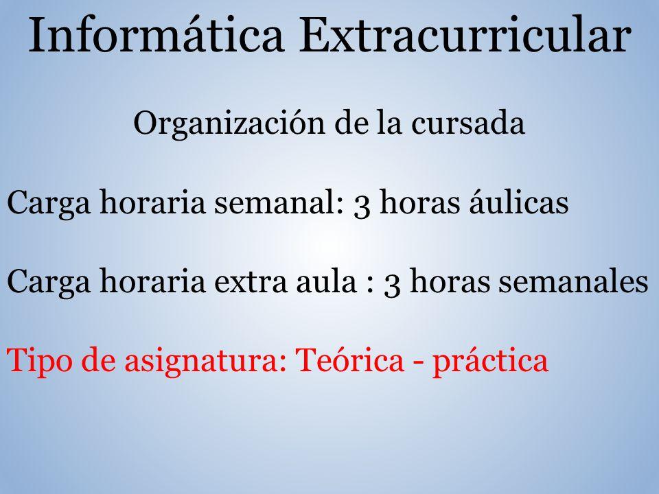 Informática Extracurricular Organización de la cursada Carga horaria semanal: 3 horas áulicas Carga horaria extra aula : 3 horas semanales Tipo de asignatura: Teórica - práctica