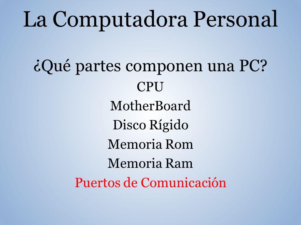 La Computadora Personal ¿Qué partes componen una PC.