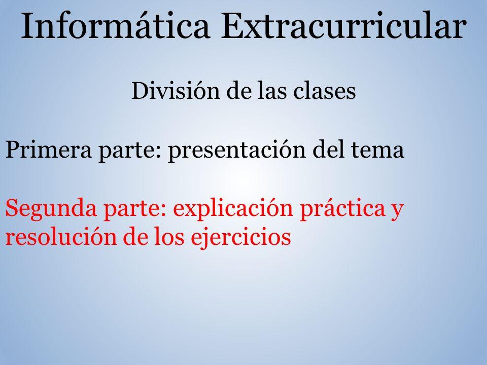Informática Extracurricular División de las clases Primera parte: presentación del tema Segunda parte: explicación práctica y resolución de los ejercicios