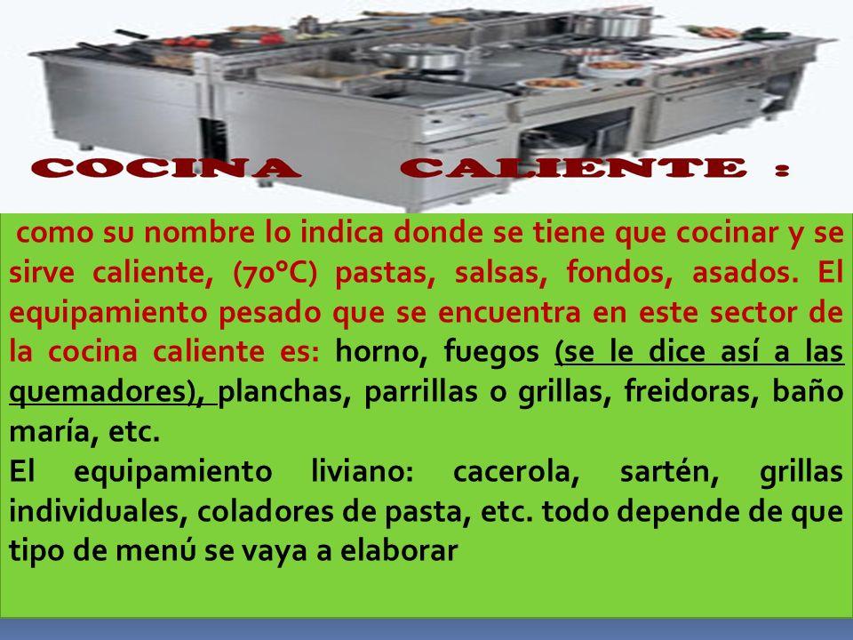 DIVISION GENERAL DE UNA COCINA : La cocina Colombiana es una combinación de las dos grandes cocinas, La Europea y la Americana.