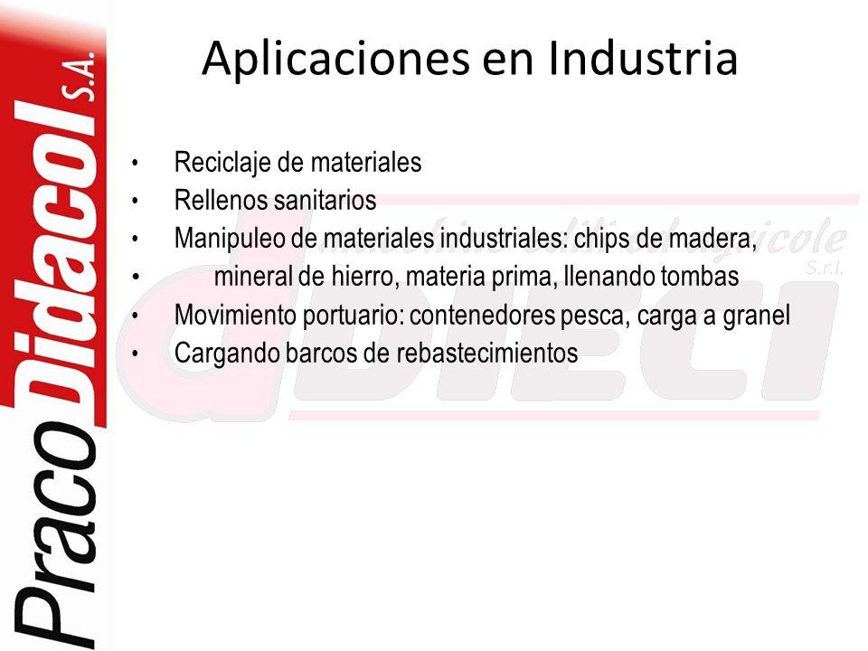 Aplicaciones en Industria Reciclaje de materiales Rellenos sanitarios Manipuleo de materiales industriales: chips de madera, mineral de hierro, materi