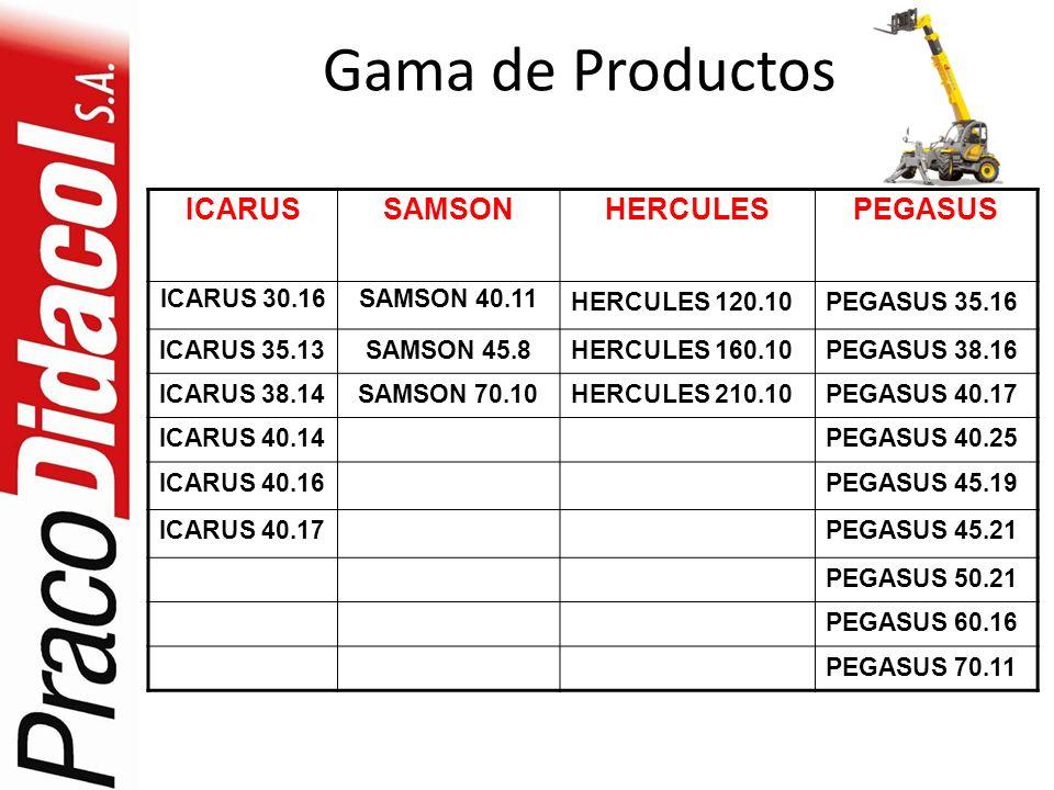 Gama de Productos ICARUSSAMSONHERCULESPEGASUS ICARUS 30.16SAMSON 40.11 HERCULES 120.10PEGASUS 35.16 ICARUS 35.13SAMSON 45.8HERCULES 160.10PEGASUS 38.1