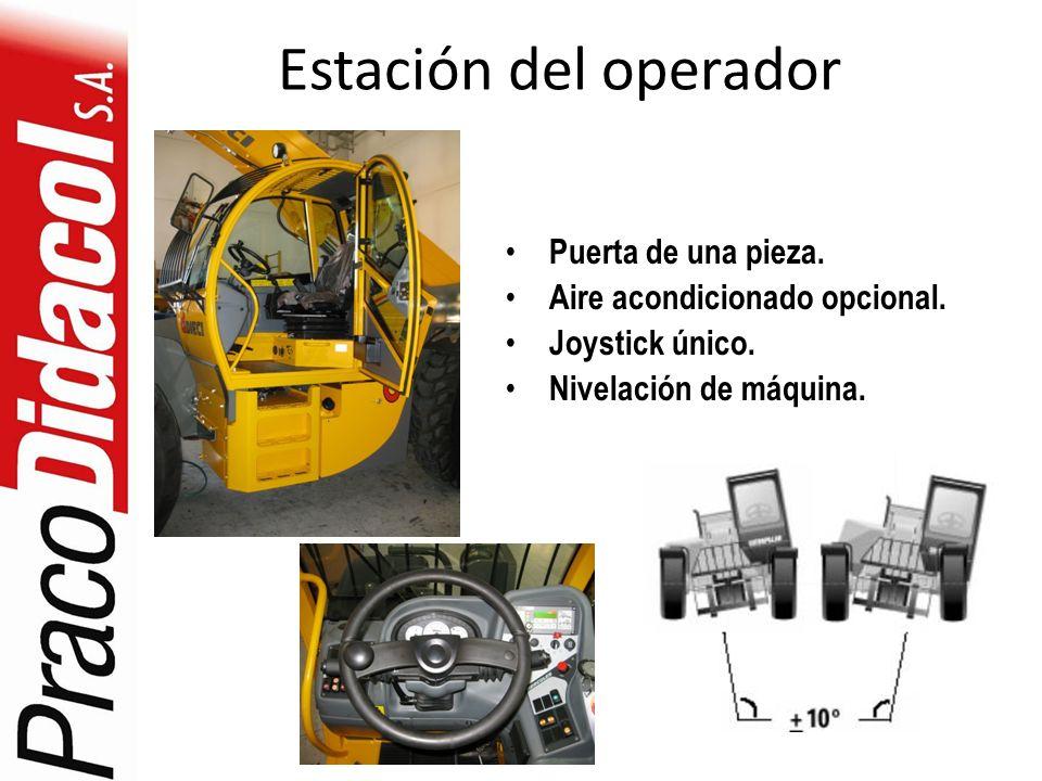 Estación del operador Puerta de una pieza. Aire acondicionado opcional. Joystick único. Nivelación de máquina.