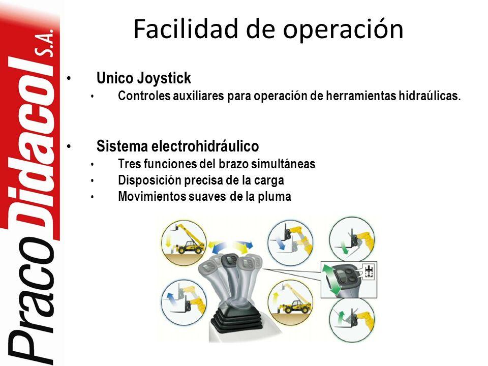 Facilidad de operación Unico Joystick Controles auxiliares para operación de herramientas hidraúlicas. Sistema electrohidráulico Tres funciones del br
