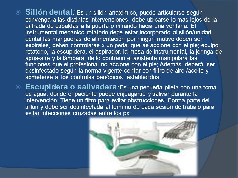 Sillón dental: Es un sillón anatómico, puede articularse según convenga a las distintas intervenciones, debe ubicarse lo mas lejos de la entrada de es
