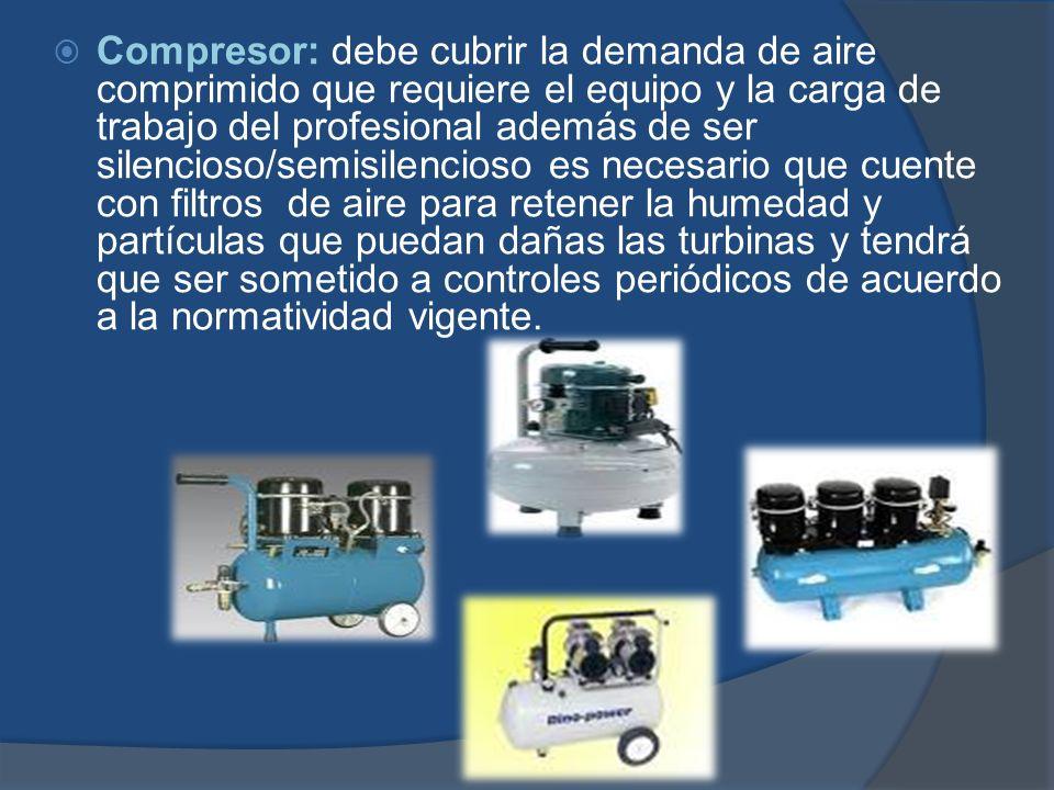 Compresor: debe cubrir la demanda de aire comprimido que requiere el equipo y la carga de trabajo del profesional además de ser silencioso/semisilenci
