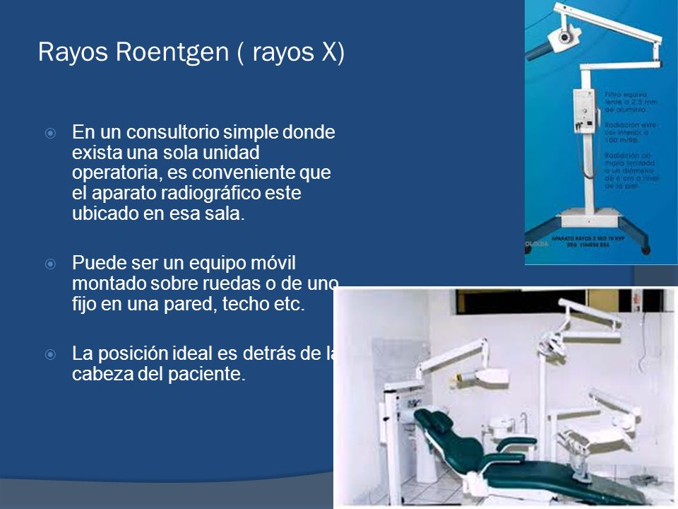 Rayos Roentgen ( rayos X) En un consultorio simple donde exista una sola unidad operatoria, es conveniente que el aparato radiográfico este ubicado en