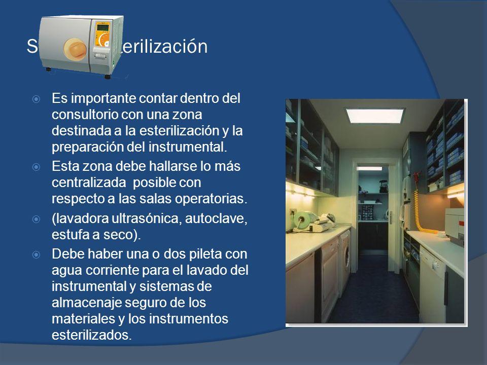 Sala de esterilización Es importante contar dentro del consultorio con una zona destinada a la esterilización y la preparación del instrumental. Esta