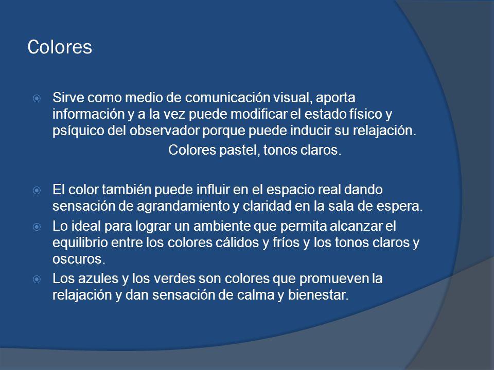 Colores Sirve como medio de comunicación visual, aporta información y a la vez puede modificar el estado físico y psíquico del observador porque puede